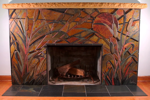 Gasch Design Wisconsin Morning Fireplace Stone And Tile Architectural Mosaic Artwork
