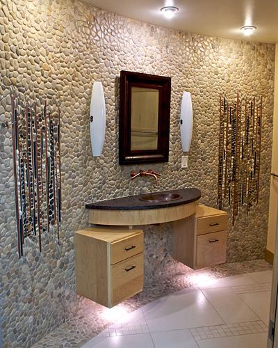 Mosaic Art Portfolio | Waterfall Bathroom Mosaic Art | Gasch Design